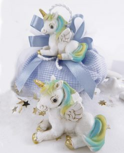 unicorno da appoggio su sacchetto azzurro