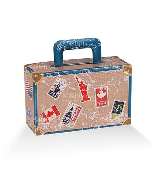 valigia cartoncino marrone e azzurra con monumenti