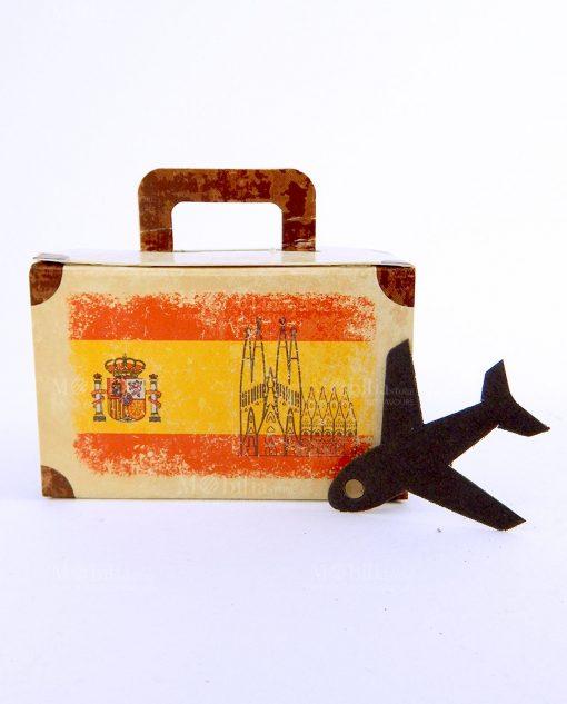 valigia cartoncino portaconfetti con bandiera spagnola