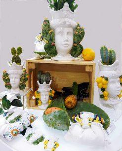 vasi teste di moro con pianta cactus varie misure foto ambientata linea i mori ad emozioni