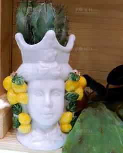 vaso portapiante testa di moro con limoni linea i mori ad emozioni