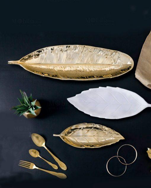 vassoio decorativo a forma di foglia