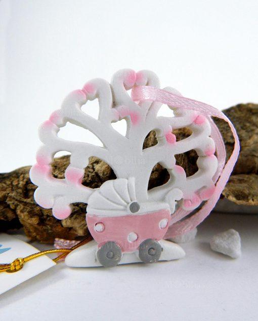 appendino albero della vita rosa con culla