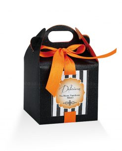 astuccio portaconfetti cartoncino nero e nastro arancio