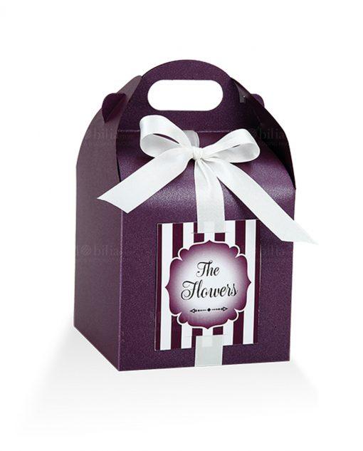 astuccio portaconfetti cartoncino viola con targhetta prefustellata