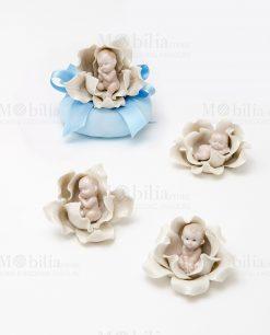 bimbi che dormono su fiore 3 assortiti con sacchetto azzurrolinea baby flowers ad emozioni