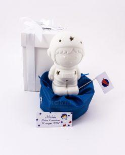 bobmoniera lampada led ceramica astronauta con sacchetto puff blu scatola con fiocco e bigliettino linea space ad emozioni