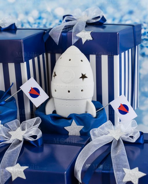 bomboniera confezione lusso lampada led ceramica bianca traforata missile linea space ad emozioni
