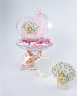 bomboniera icona albero della vita con sacra famiglia dentro sfera trasparente con fiocchi rosa