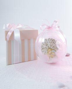 bomboniera icona sacra famiglia con albero della vita dentro sfera e scatola con fiocchi rosa