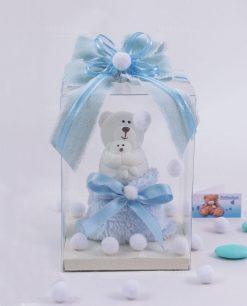 bomboniera orsetto ceramica bianca con scatola e sacchetto azzurro linea coccole polari ad emozioni