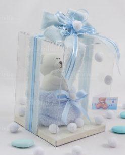 bomboniera orsetto piccolo con scatola trasparente plexiglass con nastro azzurro e sacchetto linea coccole polari ad emozioni