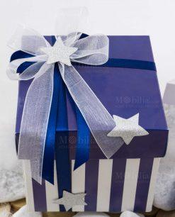 bomboniera scatola bicolore bianca e blu a righe con doppio fiocco con stellina argentata linea space ad emozioni