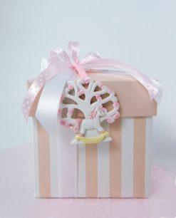 bomboniera scatola righe rosa con appendino albero della vita rosa