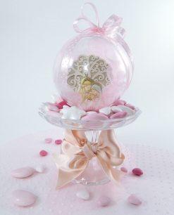 bomboniera sfera trasparente con icona sacra famiglia albero della vita e fiocchi rosa