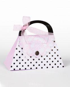 borsetta cartoncino bianco e rosa con pois neri