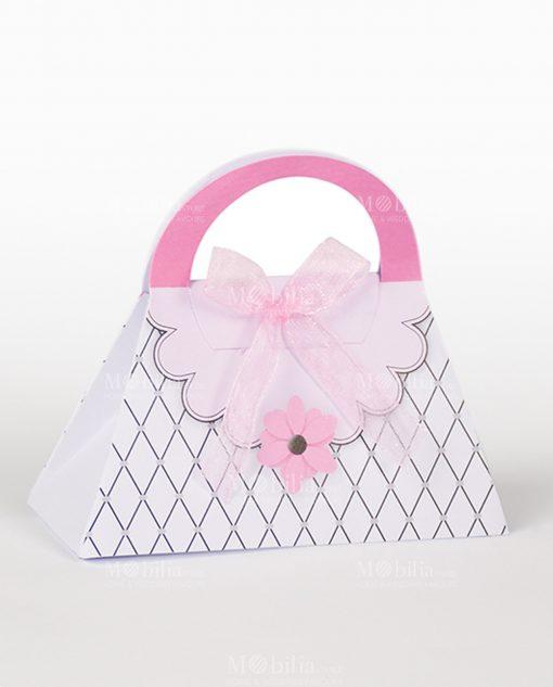 borsetta cartoncino texture trasversale nero e fiore rosa