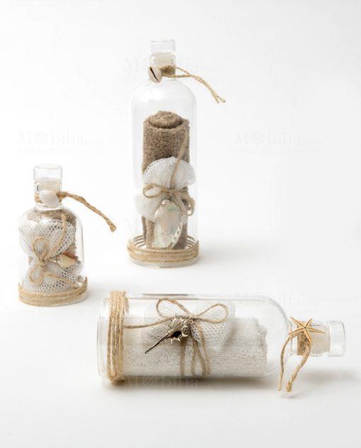 bottiglia vetro con decoro mare con conchiglia stella marina e salvietta misura grande media e piccola linnea message in the bottle ad emozioni