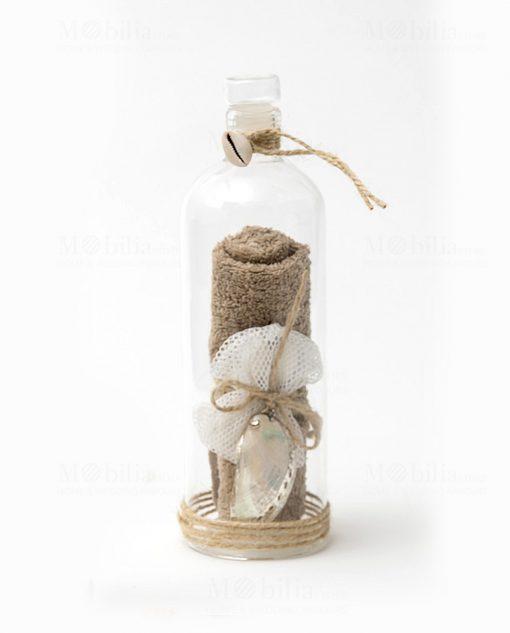 bottiglia vetro con decoro mare con salvietta linea message in the bottle ad emozioni