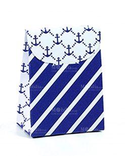 bustina portaconfetti a righe bianche e blu e ancora