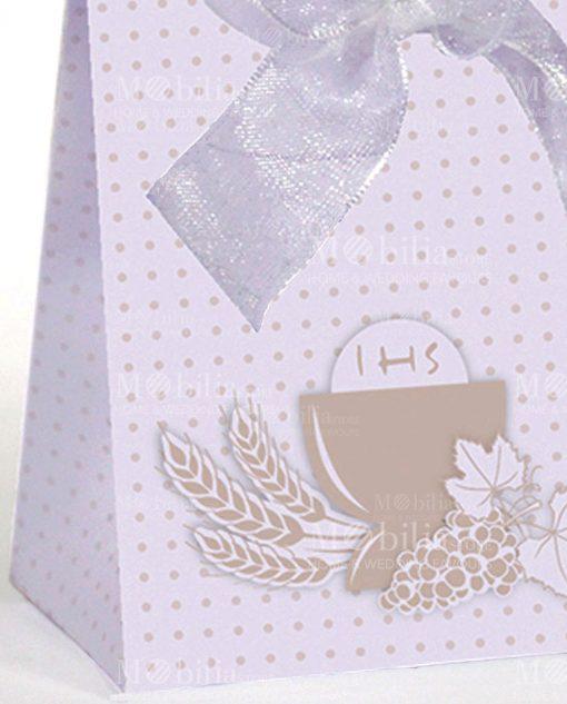 bustina portaconfetti cartoncino con pois beige