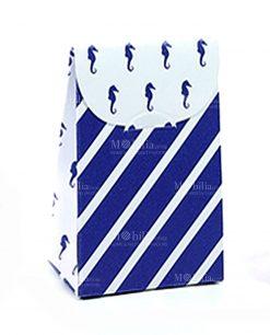 bustina portaconfetti cartoncino righe blu e cavalluccio marino