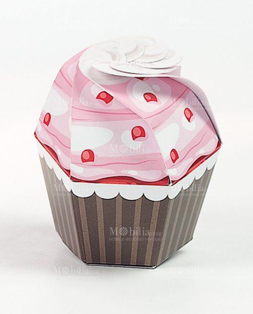 cupcake cartoncino rosa con ciliegie 1