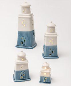 faro porcellana con led azzurro e bianco grande medio piccolo e mini linea oceano ad emozioni
