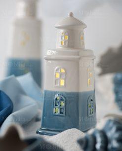 faro porcellana con led azzurro e bianco linea oceano ad emozioni foto ambientata varie misure
