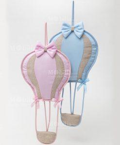fiocco nascita mongolfiera azzurra e mongolfiera rosa linea baby balloon ad emozioni