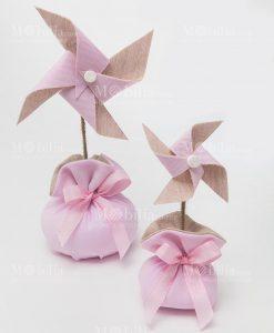 girandola media e piccola rosa con sacchetto linea baby balloon ad emozioni