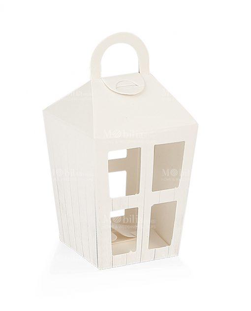 lanterna cartoncino bianco con maniglia