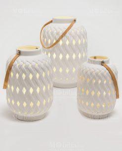 lanterna traforata ceramica con led modello medio grande gigante linea bali ad emozioni