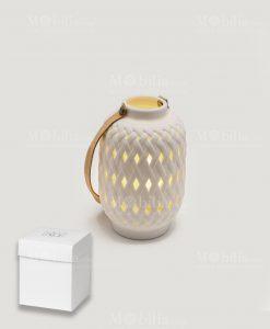 lanterna traforata ceramica con led piccola linea bali con scatola ad emozioni