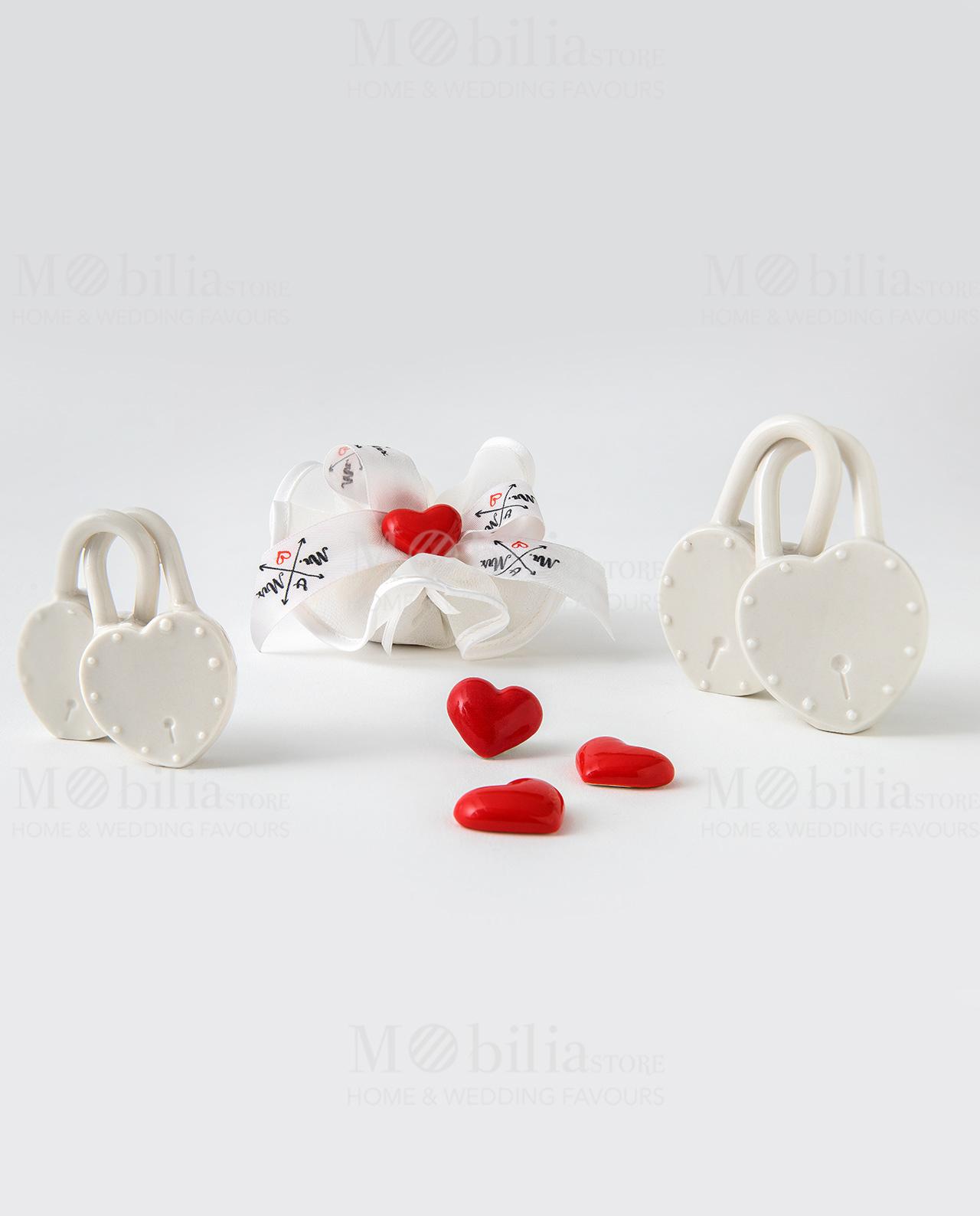 lucchetto doppio piccolo lucchetto doppio grande sacchetto tondo con magnete cuore liena eventi damore ad emozioni