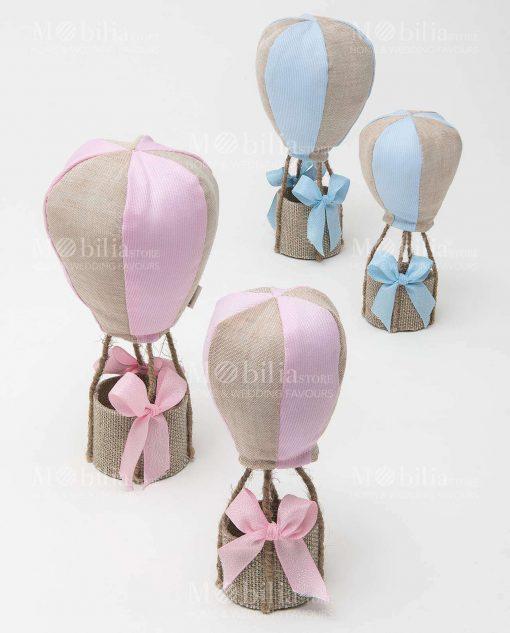 mongolfiere medie e piccole con sacchetto rosa e azzurro linea baby balloon ad emozioni