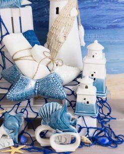 oggettistica porcellana bicolore bianca e blu linea oceano ad emozioni