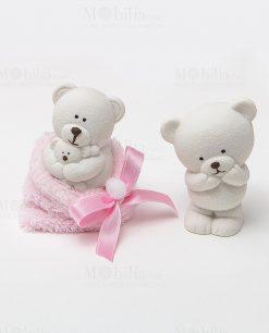 orsetto ceramica bianco due posizioni assortite con sacchetto pelliccia rosa collezione coccole polari ad emozioni