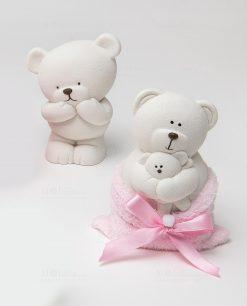 orsetto grande salvadenaio con sacchetto rosa linea coccole polari ad emozioni