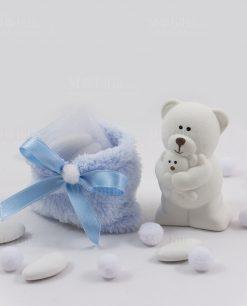 orsetto piccolo con sacchetto azzurro pelliccia con nastrino raso con confetti bianchi con tulle linea coccole polari ad emozioni