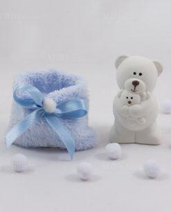 orsetto piccolo con sacchetto azzurro pelliccia con nastrino raso linea coccole polari ad emozioni
