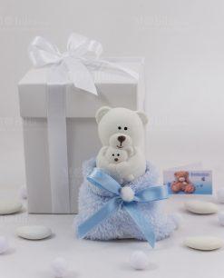 orsetto piccolo con sacchetto azzurro pelliccia con scatola cartoncino bianco con nastrino raso bianco linea dolci sogni ad emozioni