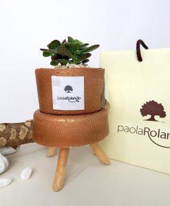 pianta verde con trespolino vaso bronzo h 12 cm paola rolando con bag