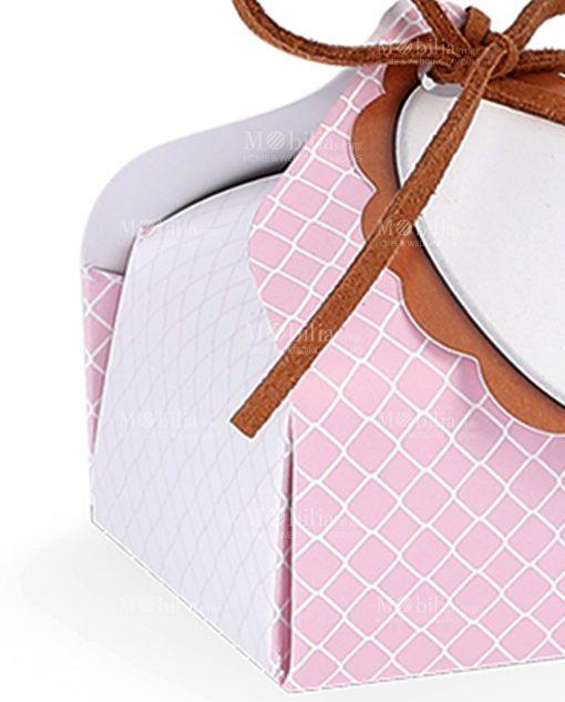 porta confetti cartoncino rosa con targhetta personalizzabile