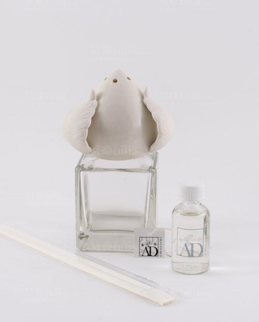 profumatore boccetta vetro piccola con pigna porcellana linea liberty ad emozioni