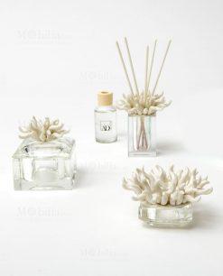 profumatore scatola e portacandele vetro con corallo linea kristal ad emozioni