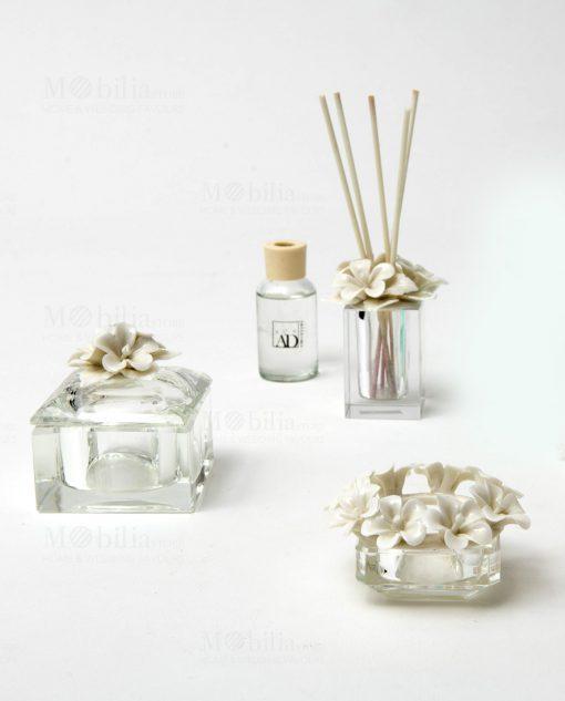 profumatore scatola e portacandele vetro con fiori linea kristal ad emozioni