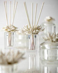 profumatore vetro e corallo porcellana con profumo e bastoncini linea kristal ad emozioni