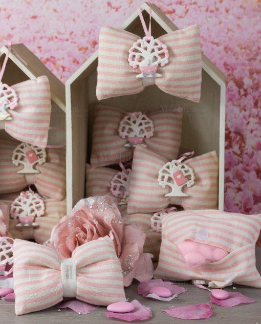 retro sacchetto fiocco rosa con appendino albero della vita