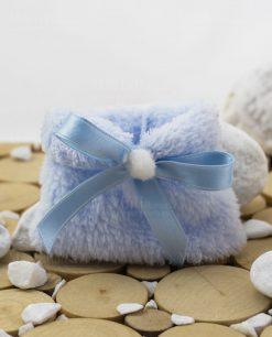 sacchetto azzurro pelliccia con nastrino raso linea coccole polari ad emozioni
